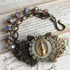 Mother of pearl vintage Mary Czech glass rhinestone assemblage