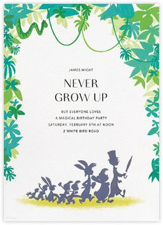 """""""Follow the Leader"""" by Paperless Post. Online Peter Pan invitations for kids' birthdays with easy-to-use design tools and RSVP tracking. View other Disney invitations on paperlesspost.com/disney."""