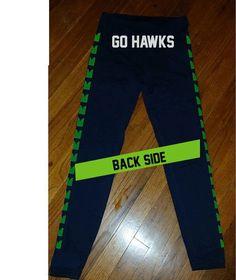 Custom Seattle Seahawks EyeHawk 12th Women's GO HAWKS Leggings Legging yoga stretchy pants cheerleading jersey pants tshirt sweatshirt