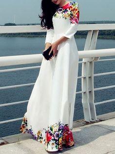 White Long Dress Floral Print Chiffon Maxi Dress For Women Maxi Dress With Sleeves, Floral Maxi Dress, Maxi Dresses, Party Dresses, Maxi Skirts, Floral Lace, Floral Sleeve, Gown Dress, Trendy Dresses