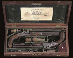 A RARE CASED PAIR OF FORSYTH PATENT SECOND MODEL SLIDING PRIMER DUELLING PISTOLS BY FORSYTH & CO., PATENT GUN MAKERS, LONDON