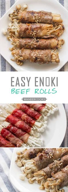 Easy Enoki Beef Rolls - A simple Japanese appetiser, set to impress at every dinner party. Enoki mushroom will be your new favourite go-to ingredient.   wandercooks.com