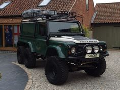 """Land Rover Defender 110 6x6 • Heavy duty custom galvanised chassis including built in rear winch tray, by Richards Chassis. • Old Man Emu suspension - +2"""" lift then +2"""" spacers on spring seats. Shockers are +5"""". • Freewheeling hubs on rear axle for on-road use. • Kam front and rear locking differentials. • Kam limited slip diffs in all 3 axles. • Foley air-operated 6x6 transfer box."""