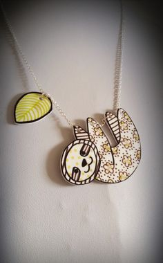 Floral Sloth necklace Handmade kitsch Cath by BeUniqueJewellery, £20.00