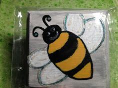 Bumblebee Hand Painted Wooden Sign by ReprievesCorner on Etsy, $4.99