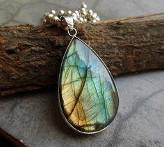 Natural labradorite pendant necklace  Blue pendant  by Studio1980