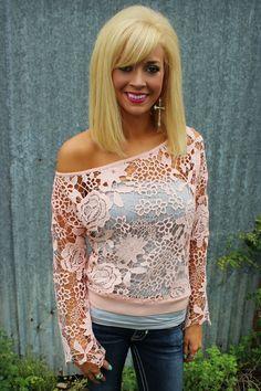 Pale Pink Crochet Off Shoulder Top - The Lace Cactus