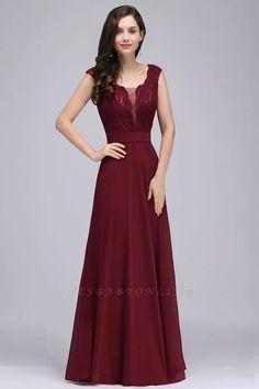 Elegant A-line Lace V-Neck Sleeveless Floor-Length Bridesmaid Dress   Yesbabyonline.com
