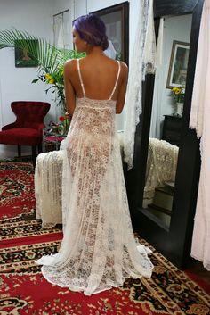 Encaje pura de encaje de novia lencería camisón ropa de dormir