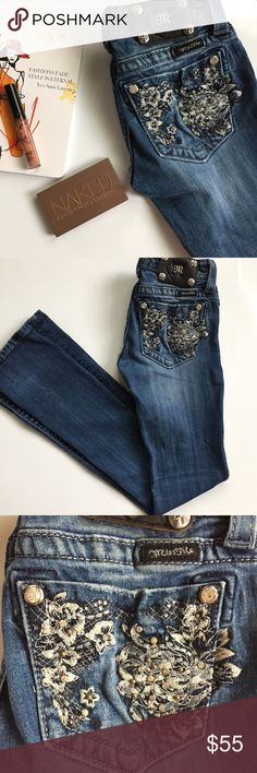 """Floral Embroidered Boot Cut Miss Me Jeans Great condition. No loose threats, stains, or missing rhinestones. These are a size 25 w/ a 34"""" inseam. Re jeans are medium wash w/ matte silver buttons. There are 5 pockets w/ floral cutouts and embroidered accents on the back pocket. Miss Me Jeans Boot Cut"""
