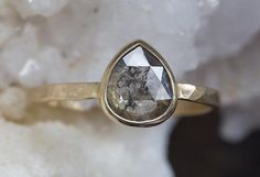 One of a Kind Natural Rose Cut Salt + Pepper Diamond Ring – Alexis Russell