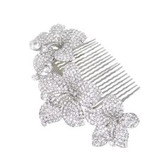 EVER FAITH® Silver-Tone Bridal 3 Orchid Flower Clear Austrian Crystal Hair Comb => Check this awesome image  : Wrapping Ideas