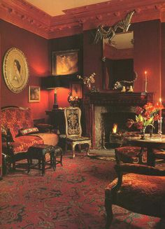 Classic living room in rich reds