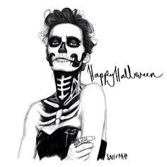 Special Halloween illustration  Skull Girl  Sally Cotterill © 2013  www.sallycotterill.co.uk