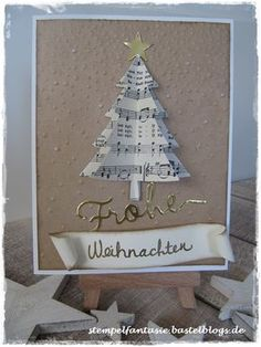 Carte avec sapin de Noël à partir de notes - Weihnachtskarten + Weihnachtstags - noel Christmas Tree Tumblr, Grinch Christmas Tree, Christmas Cards 2018, Handmade Christmas Tree, Homemade Christmas Cards, Stampin Up Christmas, Xmas Cards, Christmas Tree Decorations, Christmas Crafts