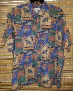 308a6acf8 Tori Richard Men's Hawaii Blue Turtle Floral 100% Cotton Aloha Shirt Sz.  2XL EUC