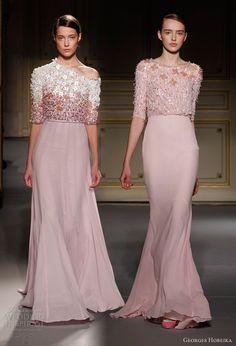 georges hobeika spring 2013 couture pink gowns sleeves