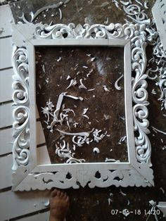 Frame ukir busa eva Flower Decoration For Ganpati, Flower Decorations, Stone Carving, Wood Carving, Mirror Photo Frames, Wall Mirror, Thermocol Craft, Foam Board Crafts, 3d Wall Painting