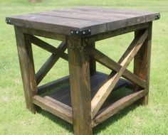 Rustic End Table by SouthernGrainFandF on Etsy https://www.etsy.com/listing/454214816/rustic-end-table