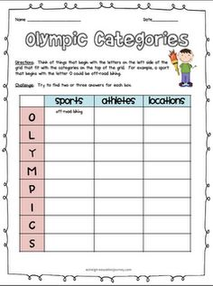 Free Olympics activity   (at the bottom of the page)