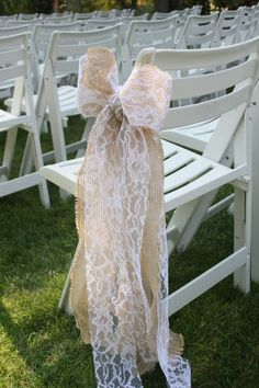 Wired Burlap and Lace Bows by SimpleWeddingDesigns on Etsy, $12.00