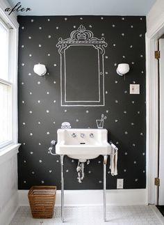 bathroom polka dot.  black and white.