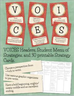 This is a printable set of VOICES headers for a writing bulletin board, similar to the CAFE reading boards. A VOICES menu is also included, which . Writing Strategies, Writing Resources, Teaching Writing, Writing Lessons, 6 Traits Of Writing, In Writing, Voices Writing, Writing Ideas, Writing Bulletin Boards