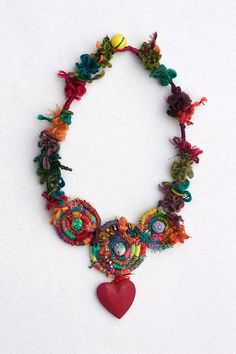 Love Story 2, heart chunky statement fiber art necklace, hand wrapped with wooden pendant, polymer clay beads and wooden bead closure. Colorful: red,