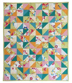 From the Sew, Mama, Sew blog; simple baby quilt that's cute because of the fabric choices.