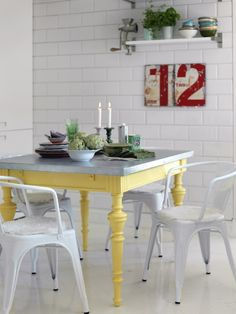 - Decorating a dining room beach is not quite as difficult as you might think that it is. Dining rooms may be one of the most exotic places in your residence. It includes a lot of different pieces of furniture apart from table and chairs. Yellow Kitchen Tables, Yellow Table, Decoration Inspiration, Furniture Inspiration, Room Inspiration, Diy Esstisch, Diy Dining Table, Zinc Table, Steel Table