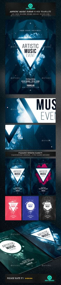 Futuristic Abstract Deejay Electro Flyer Template  Clubs