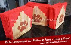 Porta Guardanapos com Palito de Picolé - Passo a Passo Popsicle Stick Crafts, Popsicle Sticks, Craft Stick Crafts, Paw Patrol Party, Paw Patrol Birthday, Craft Activities For Kids, Crafts For Kids, Paw Patrol Decorations, Printed Napkins