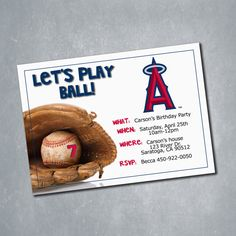 $10 Los Angeles Angels MLB Baseball Birthday Invitation. One sided Digital File. || Etsy Shop: MeghansView