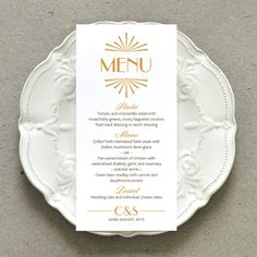 Printable Wedding Dinner Reception Menu PDF / 'Glamorous Gatsby' Art Deco Party Menu / Honey Gold Grey or Custom Colour / Digital File Only
