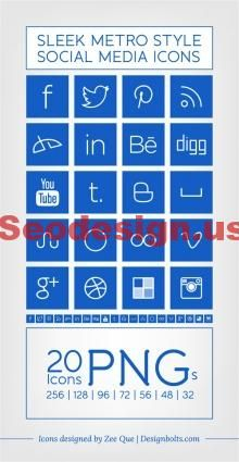 Free Social Icons Set - Blue PNG Icons #icons #blue #social #iconset
