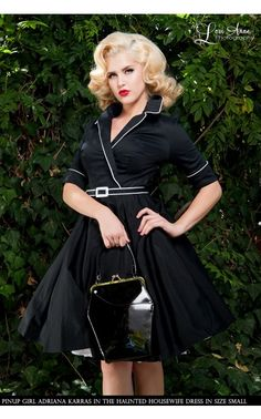 Deadly Dames - Haunted Housewife Dress in Black   Pinup Girl Clothing