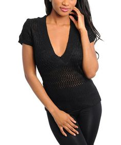 Take a look at this Black Ribbed V-Neck Top by 24|7 Frenzy on #zulily today!