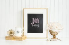 Bible Verse Printable, Instant download, Joy comes in the morning Psalms 30, Jpeg, PDF, Chalkboard, Pink and White, Inspirational