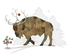 Buffalo made of pine cones with reindeer antlers. Bison. Buffalo, New York. Two blank Christmas Holiday note cards with envelopes. Attention all Buffalo, New York expatriates, Buffalo residents, residents of other Buffalos, and anyone who just really likes the shaggy beasts!  • Reindeer Buffalo is a digital print adapted from one of my original paintings. The buffalo is part of my Digital Mosaic series and is made up on many, many, snowflakes.  • Card size, when closed, is 5.5 (w) by…