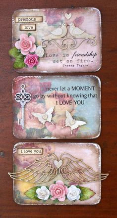 Spring, love, butterfly, hearts, angel wings, roses. Quote. Pink, purple, blue, green. Card tags.