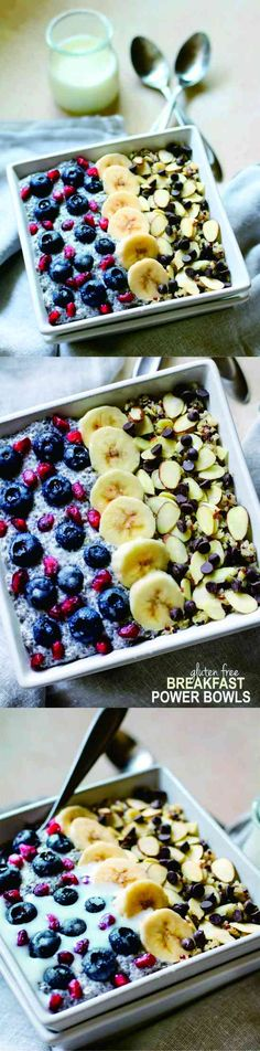 GLUTEN FREE BREAKFAST POWER BOWLS TO POWER YOUR DAY - banana, blueberry, breakfast, chocolate, dessert, gluten free, quinoa, recipes