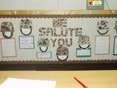 Veterans Day Bulletin Board Seasonal Bulletin Boards, Door Decorating, Veterans Day, Seasons, Holiday, Vacations, Seasons Of The Year, Holidays, Burlap Door Hangers