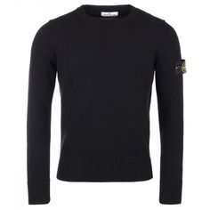 Stone Island Black Wool Knit Crew Neck Pullover (£179) ❤ liked on Polyvore featuring men's fashion, men's clothing, men's sweaters and mens wool sweaters