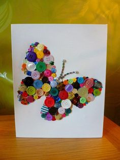 Items similar to Pretty Little Thing - unique handcrafted rainbow button wall art on EtsyPretty Little Thing - a unique handmade rainbow coloured wall art canvas of a butterfly. via Etsy. Button Art On Canvas, Button Wall Art, Preschool Crafts, Kids Crafts, Arts And Crafts, Paper Crafts, Button Crafts For Kids, Diy Buttons, Crafts With Buttons