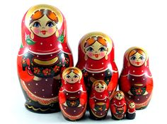 Nesting Dolls 7 pcs Russian matryoshka babushka doll for kids set Wooden stacking handpainted toy Birthday gift for mom Glasha
