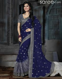 Fashionable blue net exclusive saree with chiffon palla for evening party. Latest designer saree at very lowest price only at indiabazaaronline. Latest Saree Trends, Latest Indian Saree, Indian Sarees, Indian Designer Sarees, Latest Designer Sarees, Tussar Silk Saree, Chiffon Saree, Reception Sarees, Wedding Reception