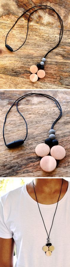 Men's Teething Necklace - finally, some awesome stylish teething accessories handmade especially for Dads from 100% non-toxic silicone and wooden beads by Zie and Me.