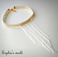 choker fringes necklace χειροποίητο κολιέ τσόκερ λευκό ιβουάρ με κρόσσια  choker handmade necklace ethnic boho white fringes bohem fashion accessories ss16 summer  https://www.facebook.com/SophiesworldHandmade/