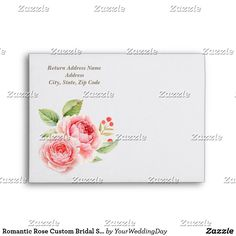 Romantic Rose Custom Bridal Shower Envelopes Romantic Rose Watercolor Painting Design personalized Bridal Shower   Wedding Envelopes with Custom Monogram. Matching Wedding Invitations, Bridal Shower Invitations, Save the Date Cards, Wedding Postage Stamps, Bridesmaid To Be Request Cards, Thank You Cards and other Wedding Stationery and Wedding Gift Products available in the Floral Design Category of our store.