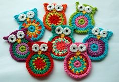 Crochet Owl Applique large size. Price for one owl.. $4.20, via Etsy.